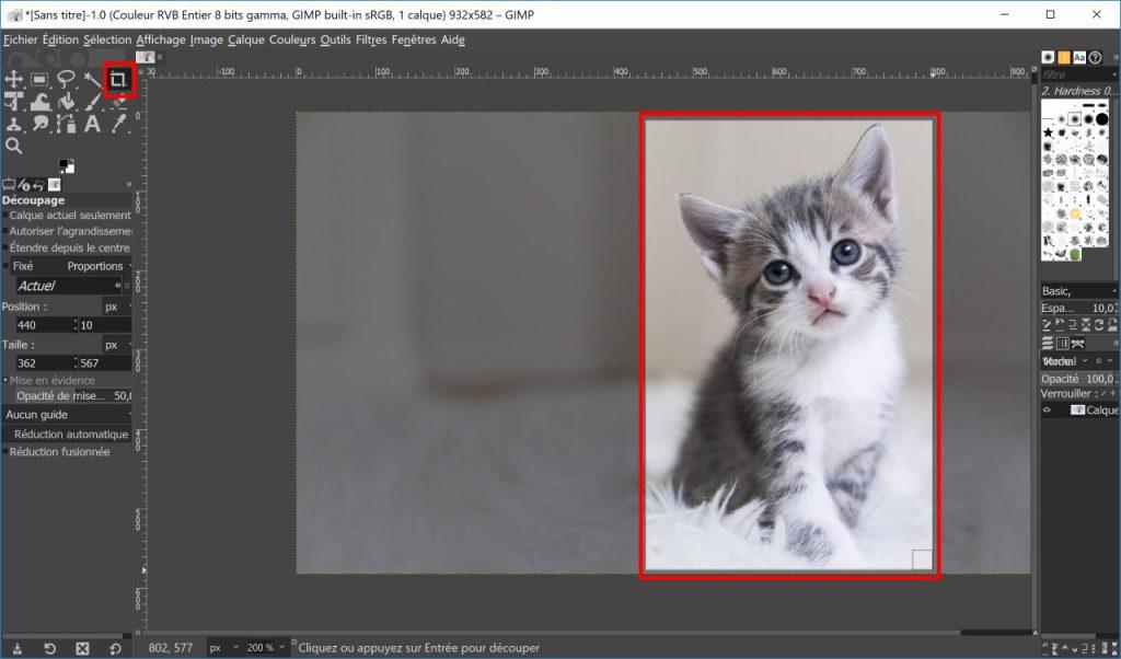 recadrer image gimp