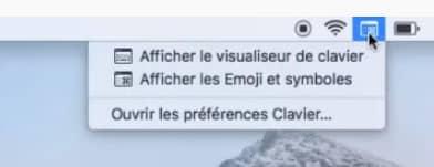 visualiseur clavier emoji et symboles dans la barre de menus mac