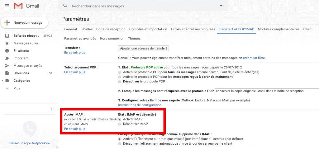 gmail activer imap