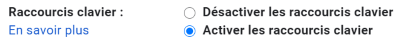 activer raccourcis clavier gmail