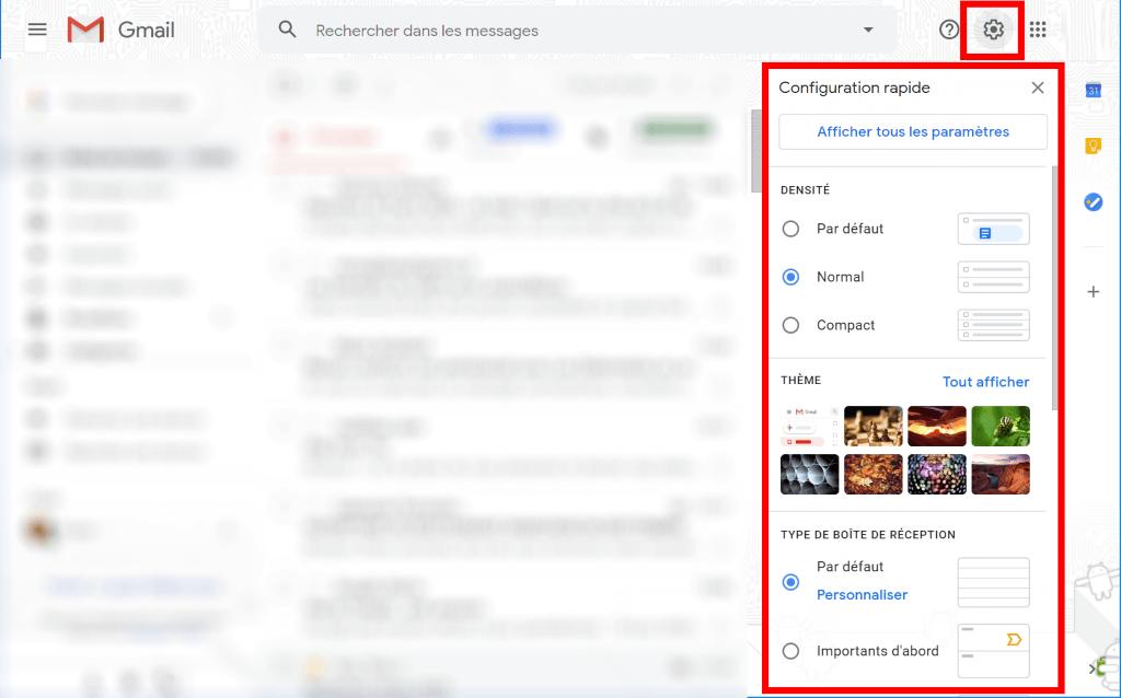 personnaliser l'affichage de gmail
