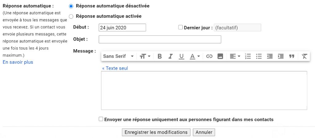 programmer une réponse automatique gmail