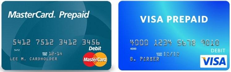 mastercard visa cartes prépayées