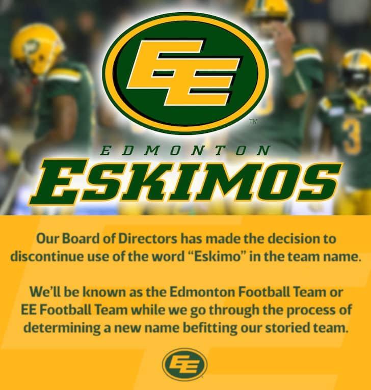 Edmonton Eskimos changement de nom