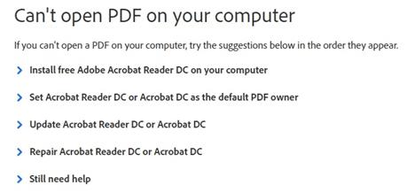 erreur ouverture fichier pdf