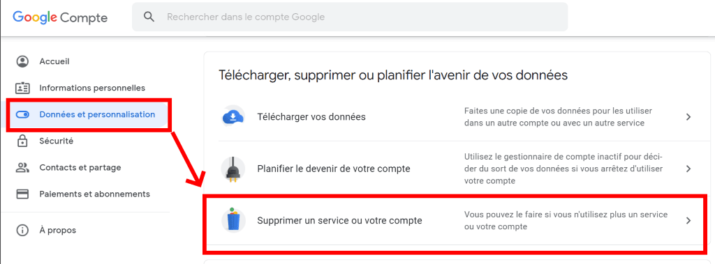 supprimer les données google gmail