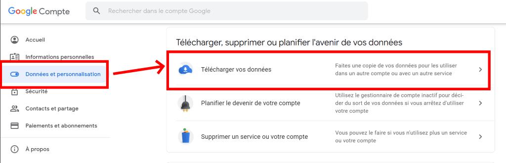 sauvegarde : télécharger les données d'un google gmail