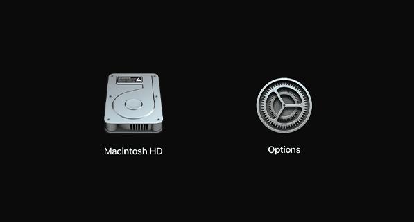 mon mac démarre pas : icone disque-dur et menu options