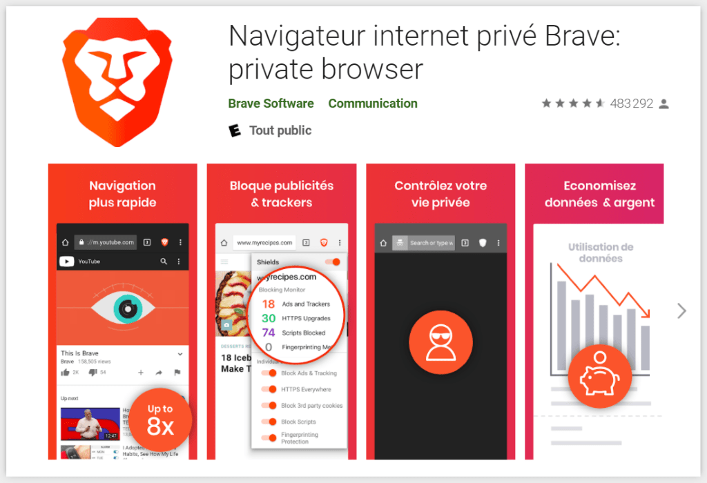brave navigateur internet android sans pub