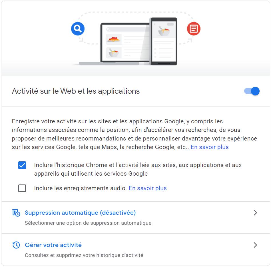 Google my activity : Activité sur le Web et les applications