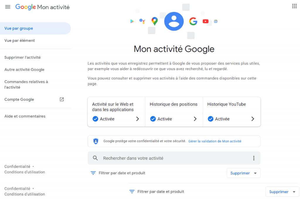 google my activity : mon activité google accueil