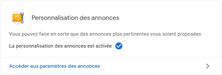 Google my activity : personnalisation des annonces